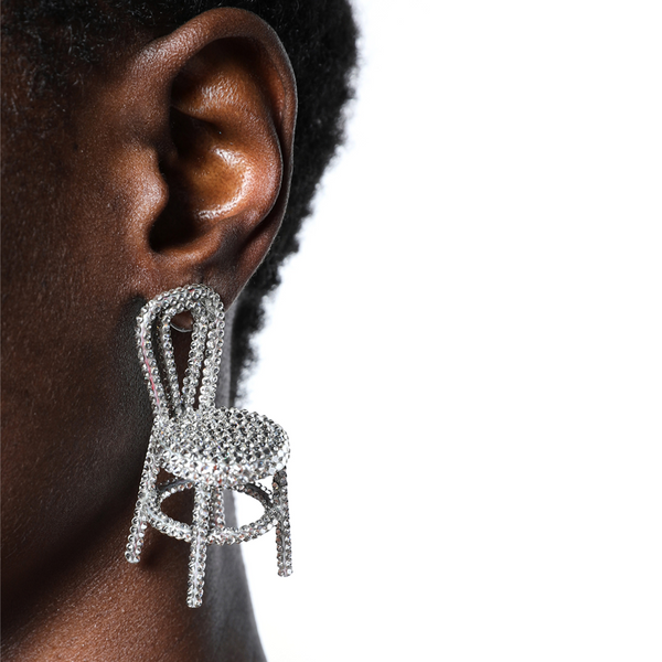 """SILVER CRYSTAL"" CHAIR MONO EARRING"