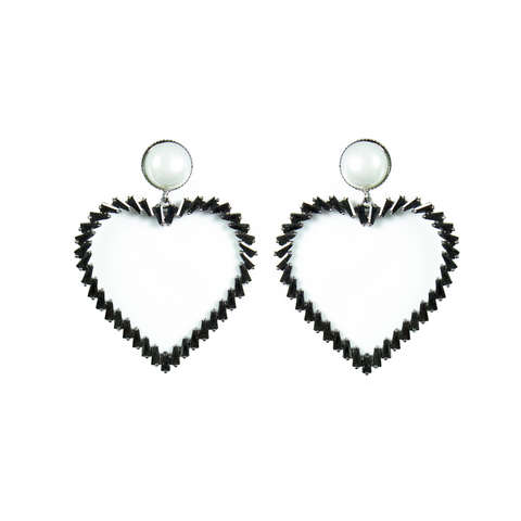 """Black Pearl Heart"" Earrings"
