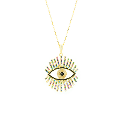 """Gold Evil Eye with Multicolour Crystals"" Necklace"