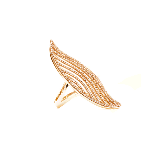 """18K Rose Gold and Long, Diamond"" Ring"