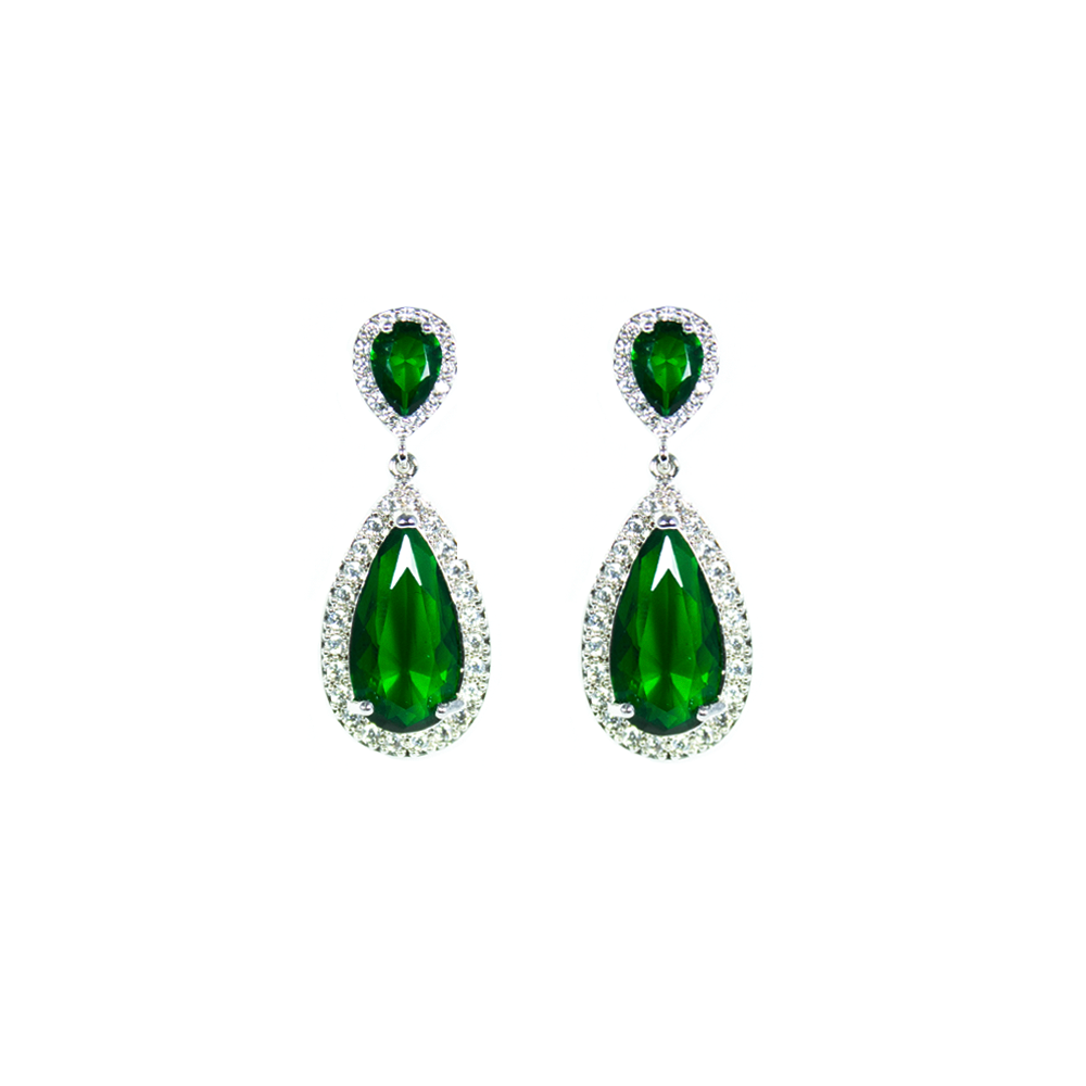 """Large Green Crystal Diamond"" Earrings"