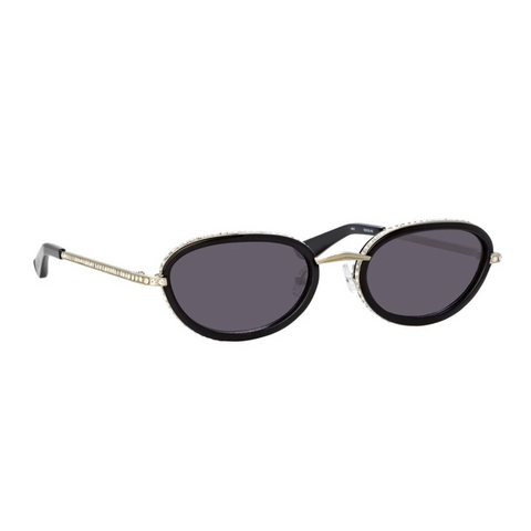 AREA X LINDA FARROW BLACK OVAL SUNGLASSES
