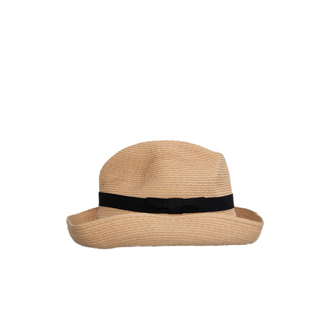 """Boxed Hat Raffia 6 cm brim"" Black"