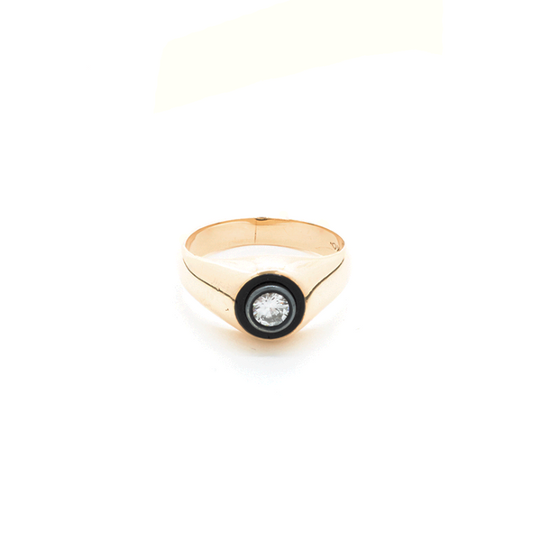 """14k Yellow Gold Diamond and Black Onyx Signet"" Ring"