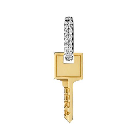 """SMALL KEY"" 18K YELLOW GOLD EARRING"