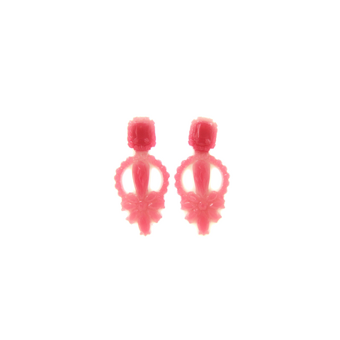 RED / PINK-COLOURED TRANSLUCENT SILICONE EARRINGS