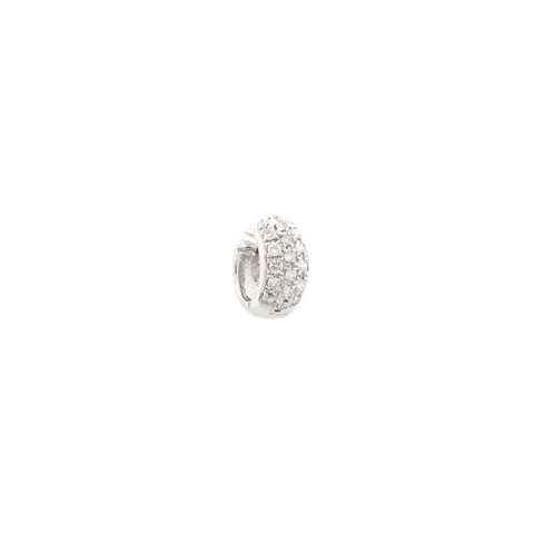 """18k White Gold and Diamond Mono Huggie Hoop"" Earring"