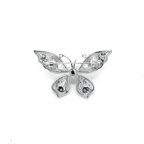 """White Crystal Butterfly"" Brooch"