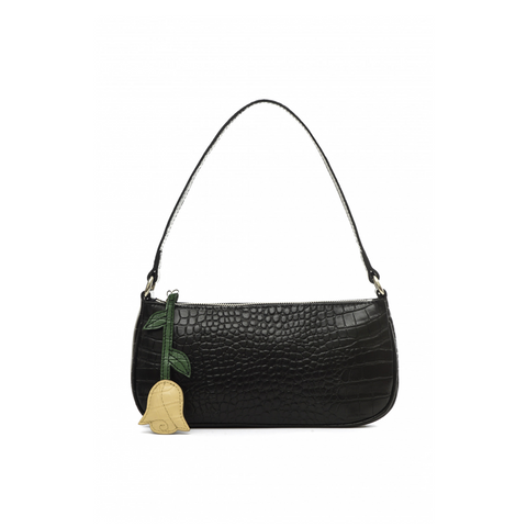 CROC-EMBOSSED LEATHER SHOULDER BAG - BLACK