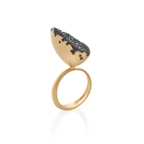 """BABY MALAK FLOURISH CAVIAR MARQUISE MEDIUM"" 18K YELLOW GOLD & BLACK DIAMOND RING"
