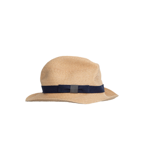 """BOXED RAFFIA"" HAT - NAVY - 6CM BRIM"