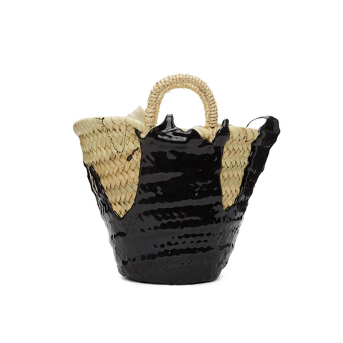 "MINI ""WOVEN BASKET"" BAG - BLACK"