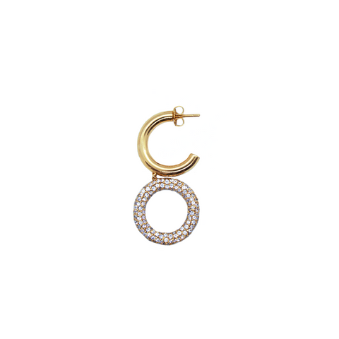"""TRIBAL"" SEMI GOLD-PLATED HOOP & CUBIC ZIRCONIUM HOOP MONO EARRING"