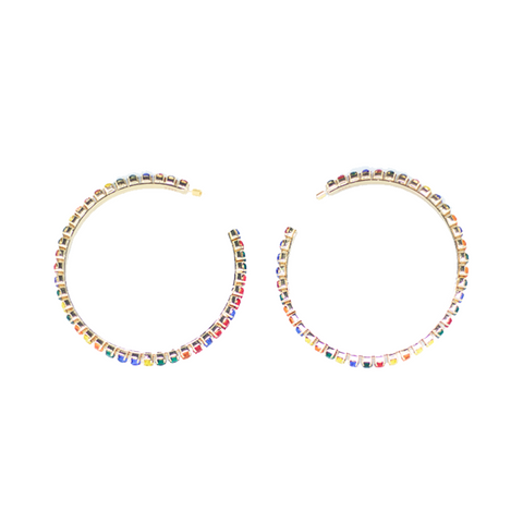 "LARGE ""ROUND HOOP"" GOLD BRASS & MULTI-COLOUR CRYSTAL EARRINGS"