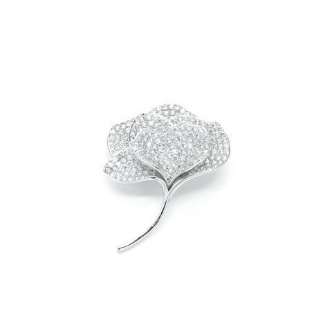 """White Crystal Leaf"" Brooch"