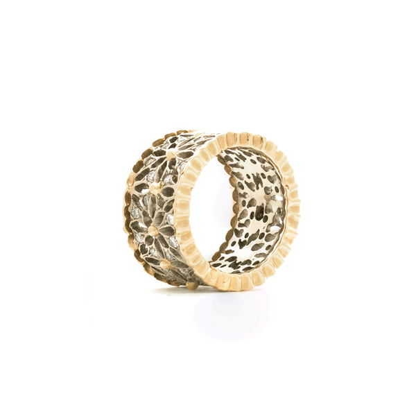 """18K Gold and Diamond Flower Band"" Ring"
