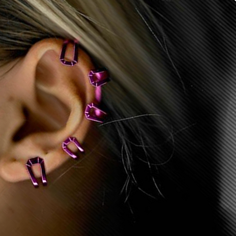 """JOELLE"" METALLIC PINK EAR CUFF"