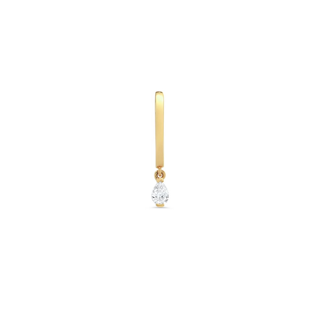 """Medium Maasai Yellow Gold with Tear Drop White Diamond"" Hoop Earring"