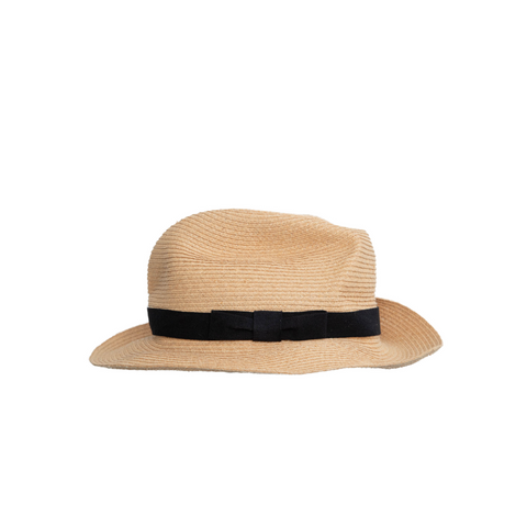 """Boxed Hat Raffia 11 cm brim"" Black"