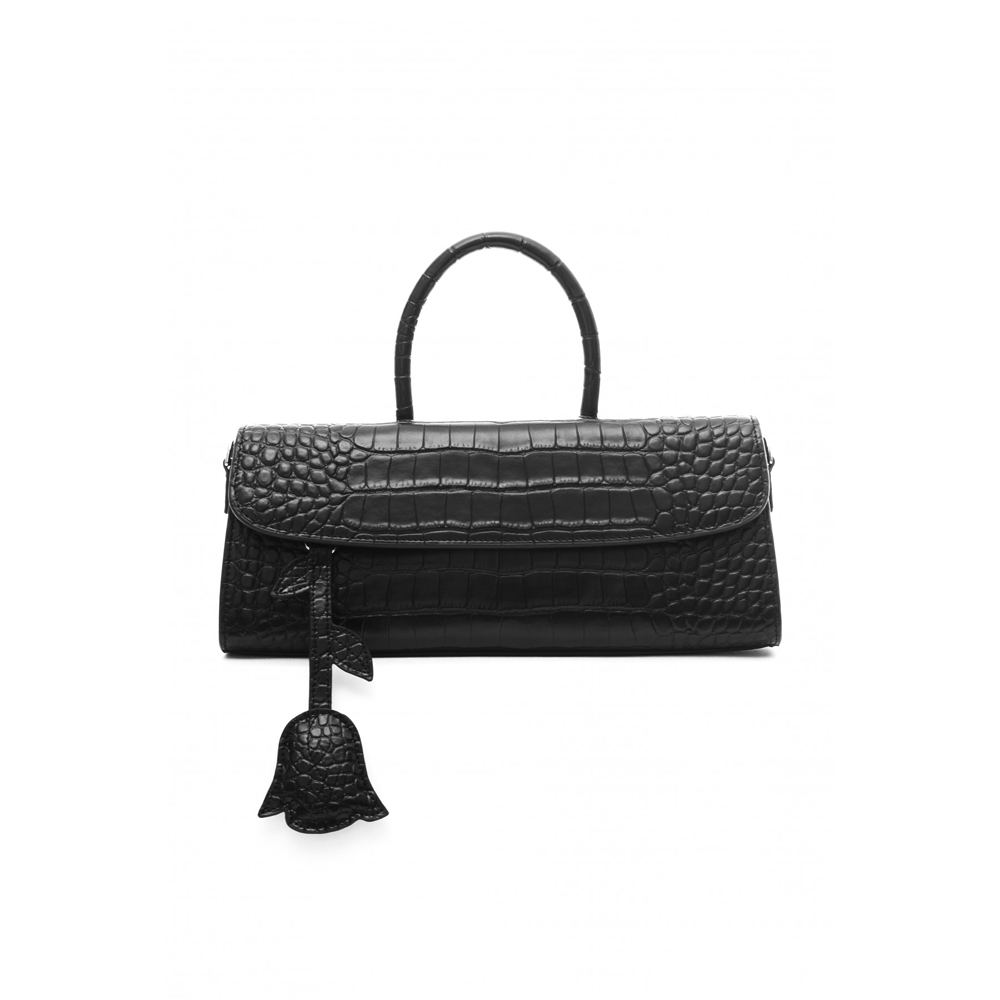CROC-EMBOSSED LEATHER SATCHEL BAG - BLACK