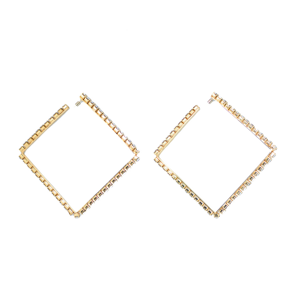 "LARGE ""CLASSIC SQUARE HOOP"" GOLD BRASS & CLEAR CRYSTAL EARRINGS"