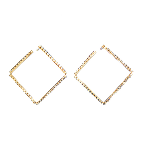 """Large Classic Square Hoops"" Gold Brass / Clear Crystal"
