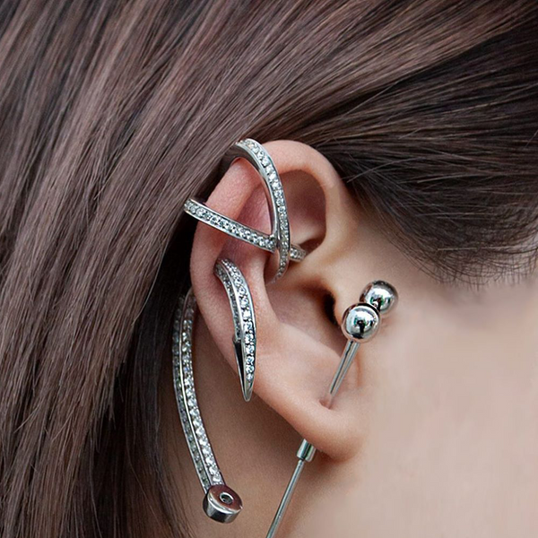 """HOOK"" ENCRUSTED RHODIUM MONO EARRING"