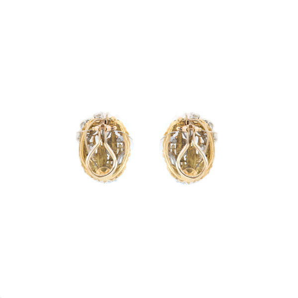 """Diamonds and 18K Gold Clip On"" Earrings"