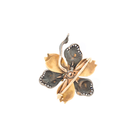 """Enamel, Diamond and Gold Flower Pendant"" Brooch"