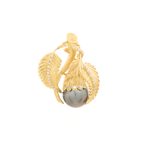 """Tahitian Pearl, Diamond and 18k Yellow Gold Leaf and Branch"" Pendant"