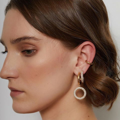 """TRIBAL"" SEMI GOLD-PLATED CUBIC ZIRCONIUM MONO EARRING"