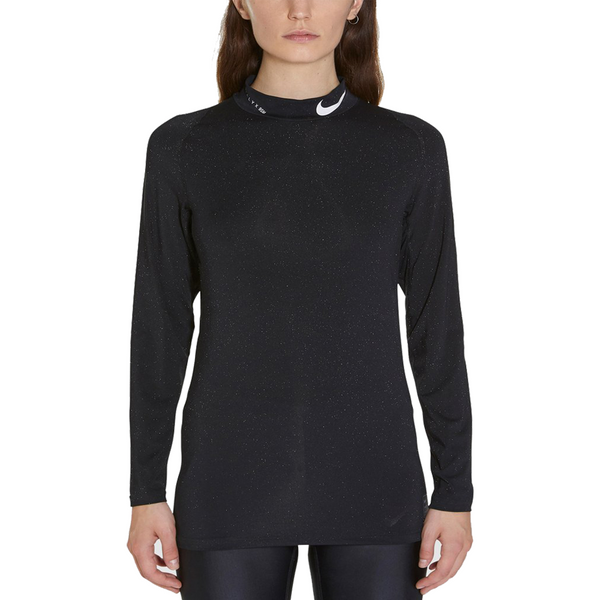 "NIKE ""TRAINING"" GLITTER LONG SLEEVE BLACK TEE"