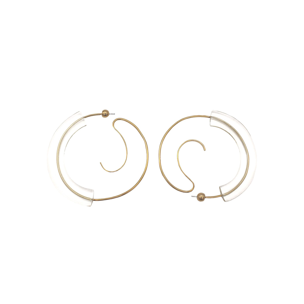 """Upside Down Hoops Resin M"" Earrings"