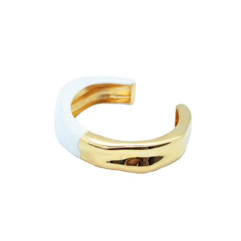 """Waves Feminine Bangle with White Enamel"""