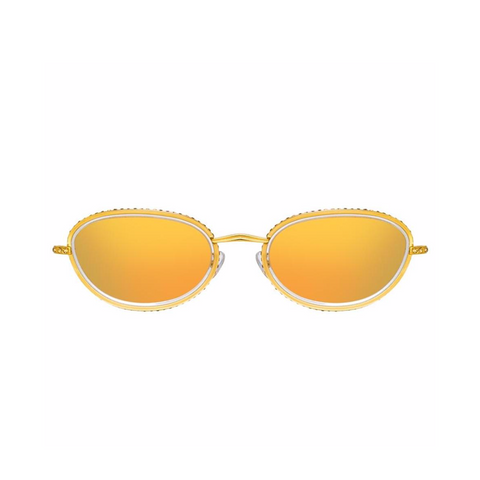 AREA X LINDA FARROW YELLOW GOLD OVAL SUNGLASSES