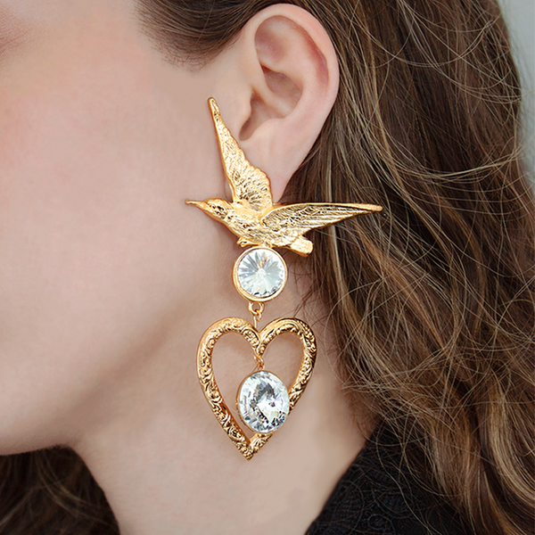 """Gold bird and heart with swarovski clear crystals mono earring"""