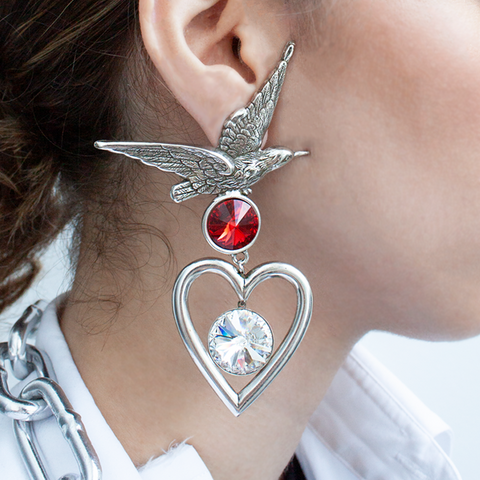 """Silver bird and heart with swarovski clear crystals mono earring"""