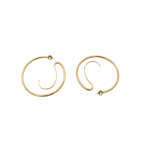 """UPSIDE DOWN HOOP"" MEDIUM EARRINGS - GOLD-PLATED"