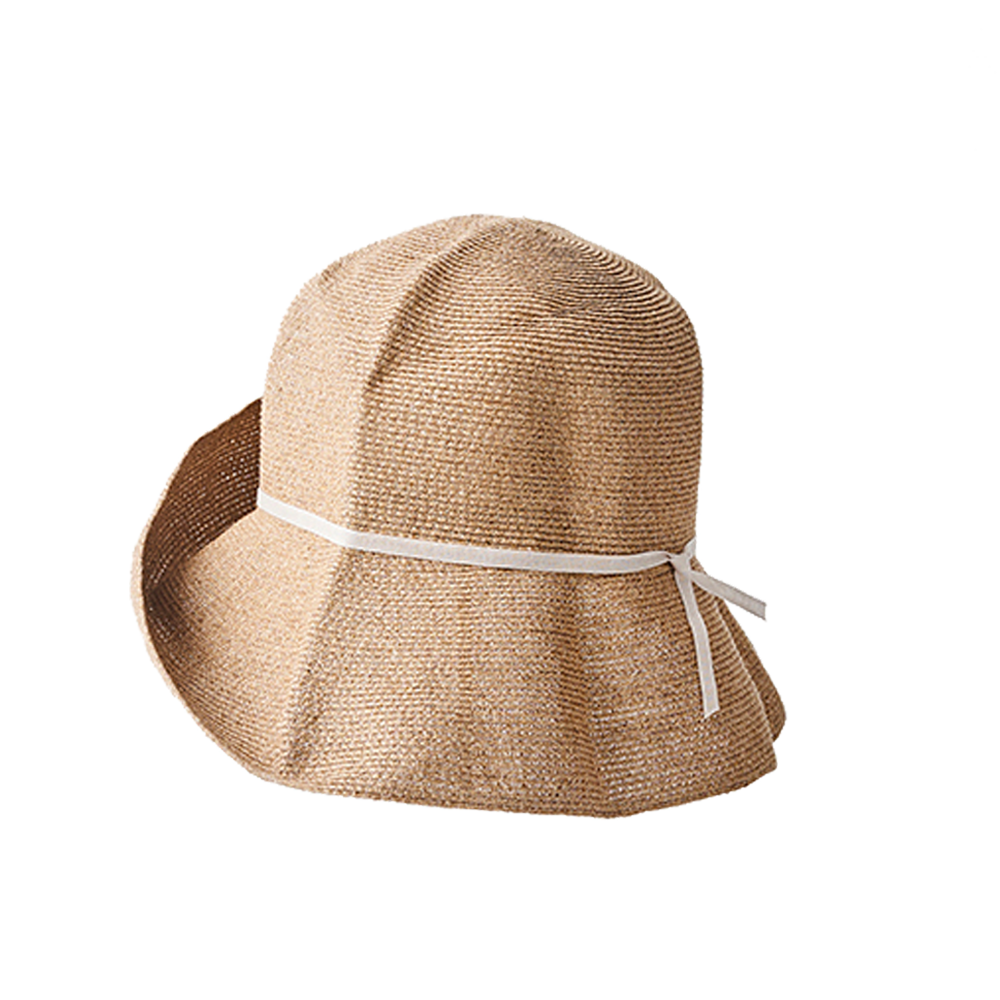 """PAPER BRAID"" WIDE HAT - MIX BROWN X LIGHT GRAY"