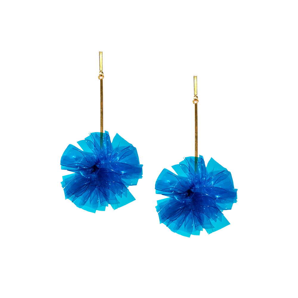 BLUE VINYL POM POM EARRINGS