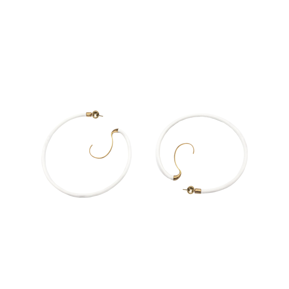 """Upside Down Enamel Hoops M"" Earrings"