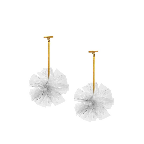 """Clear 2"" Vinyl Pom Pom T-bar Earrings"""