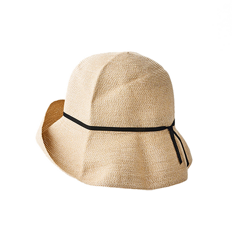 """PAPER BRAID"" WIDE HAT - NATURAL X BLACK"