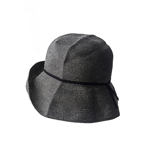 """PAPER BRAID"" WIDE HAT - BLACK X BLACK"