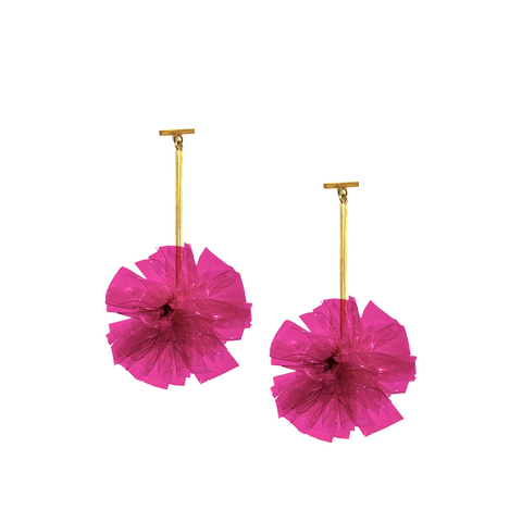 """Fuchsia 2"" Vinyl Pom Pom T-bar Earrings"""