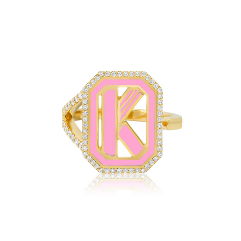 """GATSBY INITIAL RING WITH DIAMONDS"" 18K GOLD RING"