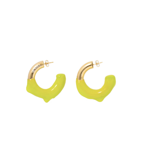"""RUBBERIZED"" ACID YELLOW & GOLD BRASS EARRINGS"
