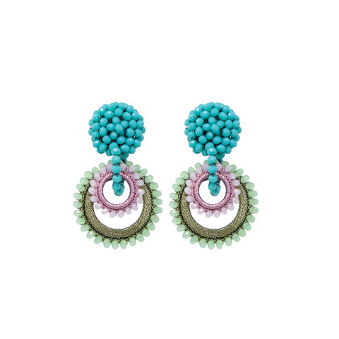 "MINI ""SUNDROP"" GREEN / PINK / TURQUOISE EARRINGS"