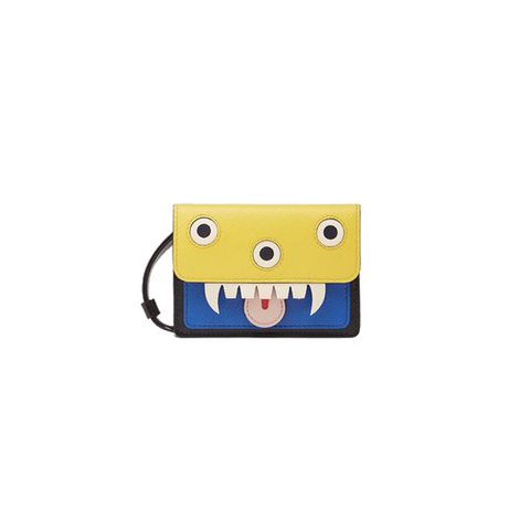 """Wallet monster in calfskin and saffiano leather"" in yellow and blue"