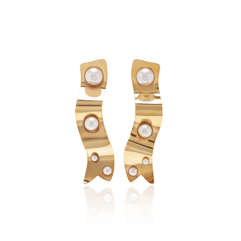 """Gold ribbon"" earrings with pearl details"